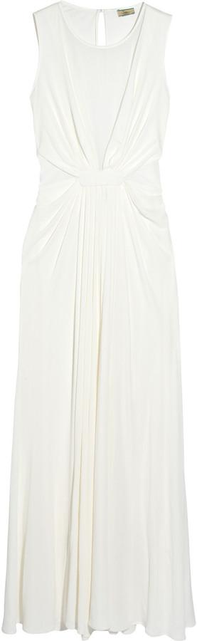Issa Mesh-paneled silk-chiffon gown