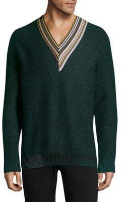 Solid Homme Multi-Stripe V-Neck Sweater