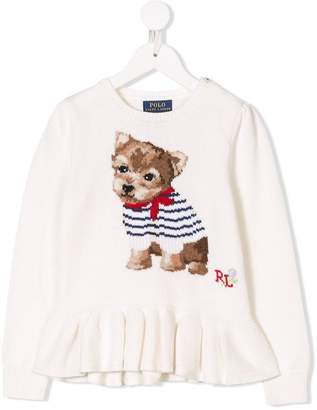 Ralph Lauren Kids dog intarsia knitted dress