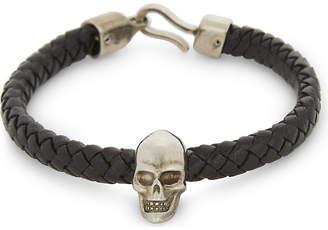 Alexander McQueen Braided leather skull bracelet
