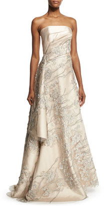Rubin Singer Strapless Embroidered Applique Gown, Champagne $6,990 thestylecure.com
