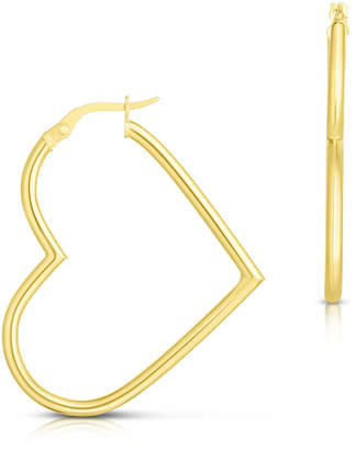 Sphera Milano 14k Italian Gold Heart Hoop Earrings