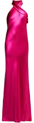 Pandora Galvan Silk Satin Halterneck Gown - Womens - Pink