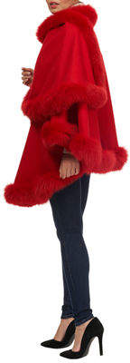 Gorski Wool Caplet with Fox Fur Trim