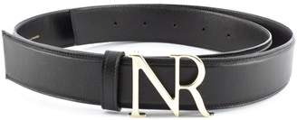 Nina Ricci Black Goat Skin Monogram Buckle Belt.