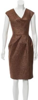 Lela Rose Metallic Knee-Length Dress Orange Metallic Knee-Length Dress
