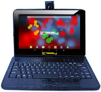 LINSAY 10.1 1280x800 IPS Screen Quad Core Android 7.1 Tablet 16GB with Crocodile Style Keyboard Case