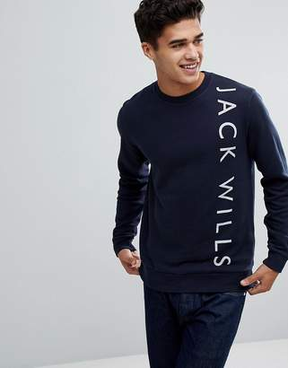 Jack Wills Abingdon Lightweight Graphic Sweatshirt In Navy