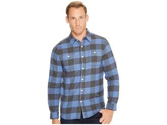 True Grit Highway 1 Roadtrip Heather Melange Flannel Plaid Long Sleeve Shirt Men's Clothing