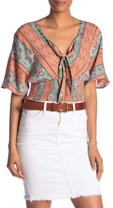 Angie Tie Front Patterned Top