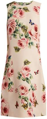 Dolce & Gabbana Rose and butterfly-print wool-blend dress