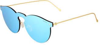 Illesteva Leonard Mirrored Mask Sunglasses, Sky Blue
