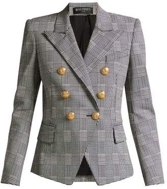 Balmain Prince Of Wales Double Breasted Blazer - Womens - Grey Multi