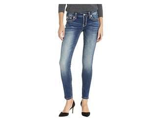 Miss Me Thick Border Stitch Skinny Jeans in Medium Blue