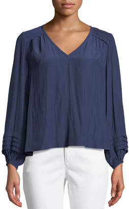 Ramy Brook Ronnie Pleated Long-Sleeve Top