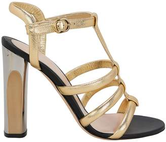 Alexander McQueen Gold Leather Gladiator Sandals