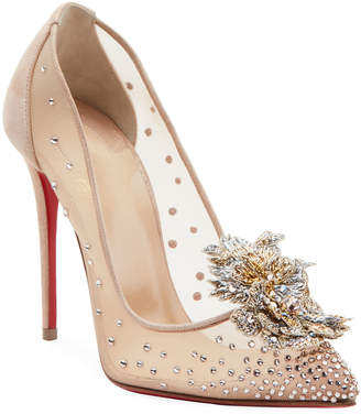 Christian Louboutin Mare Embellished Mesh Red Sole Pumps