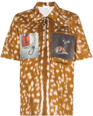 Burberry Bambi-print zip-front cotton polo shirt