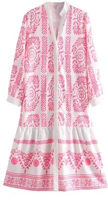 Goodnight Macaroon 'Nikka' Bohemian Embroidery Pattern Button Down Dress (2 Colors)