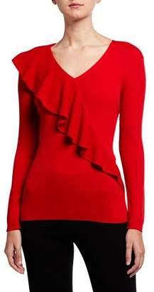 Lafayette 148 New York V-Neck Italian Merino Wool/Silk Ruffle Sweater