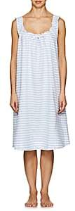 The Sleep Shirt Women's Striped Linen-Cotton Nightgown-Blue Str