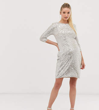 TFNC Maternity Maternity mini 3/4 length sleeve sequin dress in silver