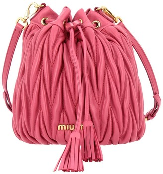 Miu Miu Crossbody Bags Small Bucket Bag In Genuine Matelassé Leather