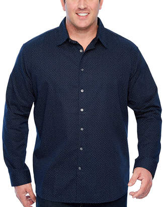 Claiborne Mens Long Sleeve Pattern Button-Front Shirt Big and Tall