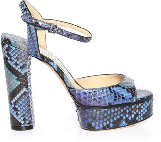 Jimmy Choo PEACHY 105 Sky Mix Degrade Painted Python Platform Sandals