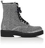 Barneys New York WOMEN'S LUREX COMBAT BOOTS - SILVER SIZE 9 00505059260271