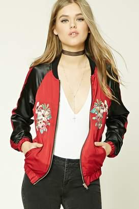 Forever 21 Satin Floral Embroidered Jacket