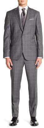 Ted Baker Jay Gray Windowpane Two Button Notch Lapel Wool Trim Fit Suit