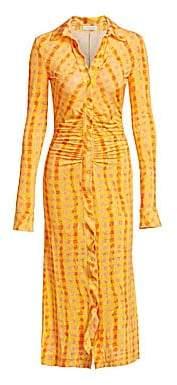Altuzarra Women's Ruched Gingham Midi Shirtdress