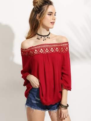 Bardot SheinShein Lace Crochet Insert Trim Top