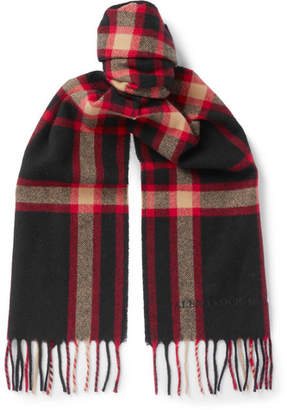 Alexander McQueen Fringed Checked Wool Scarf - Black
