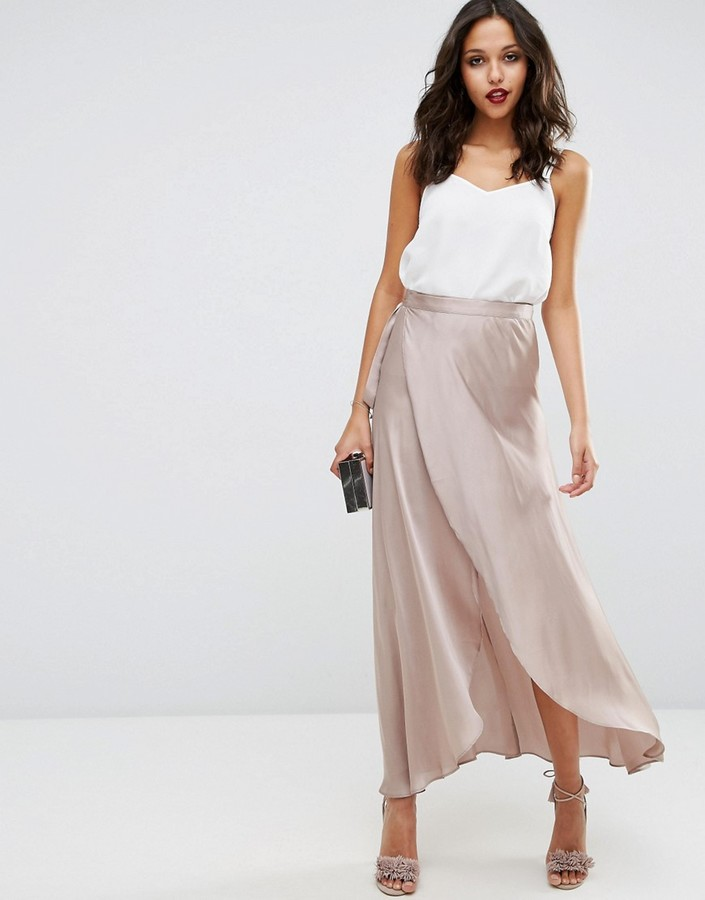 Asos ASOS Maxi Wrap Skirt in Satin