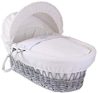 Clair De Lune Stardust Grey Wicker Moses Basket inc. bedding, mattress & adjustable hood (Blue)
