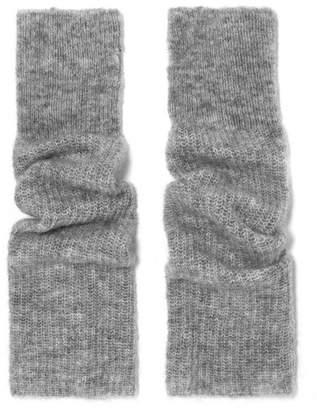 Ganni Ribbed-knit Fingerless Gloves - Gray