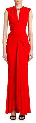 Alexander McQueen Ruched Crystal-Neck Jersey Gown