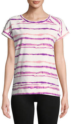 Andrew Marc PERFORMANCE Tie-Dye Striped Cotton Tee