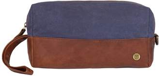 MAHI Leather - Canvas & Leather Classic Wash Bag In Navy & Brown
