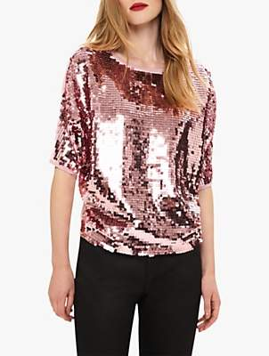 Phase Eight Alessa Sequin Top, Candy