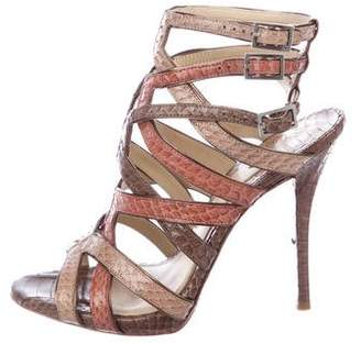 Brian Atwood Python Cage Sandals