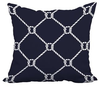 Simply Daisy 22 x 22 Inch Navy Blue Nautical Print Decorative Polyester Throw Pillow with a Linen Texture