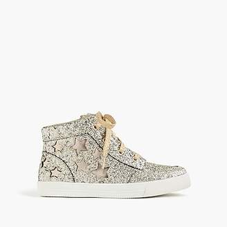 J.Crew Girls' glitter high-top sneakers with stars