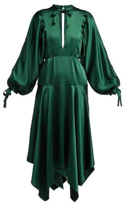 Self-Portrait Self Portrait Handkerchief Hem Satin Dress - Womens - Dark Green