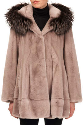 Gorski Mink Fur Jacket w/ Fox-Fur Hood