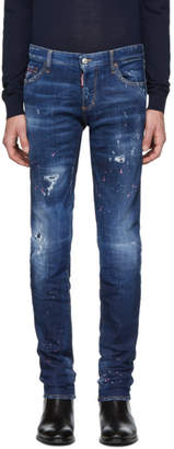 DSQUARED2 Blue Dark Pink Spray Slim Jeans