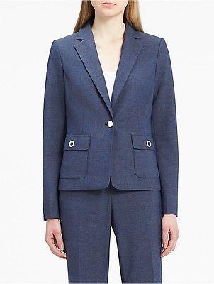 Calvin KleinCalvin Klein Womens Chambray Grommet Suit Jacket