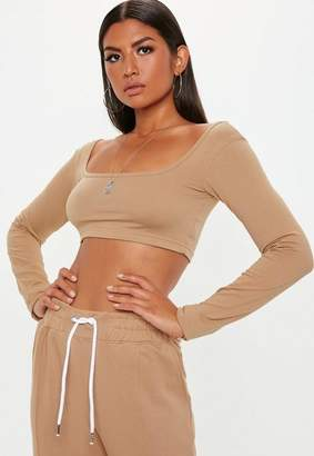 Missguided Camel Extreme Long Sleeve Crop Top